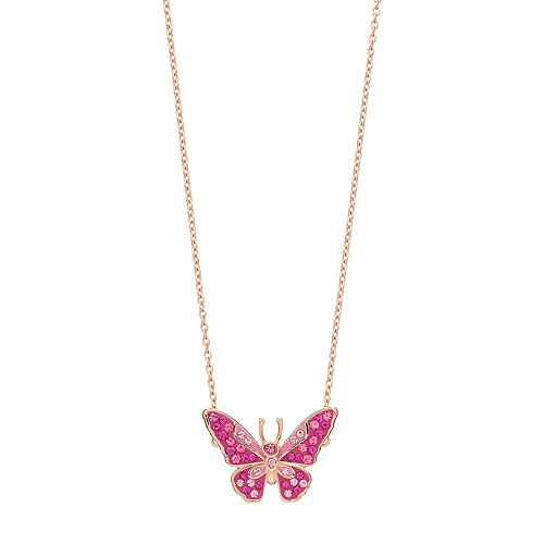 14k Rose Gold Plated Crystal Butterfly Necklace