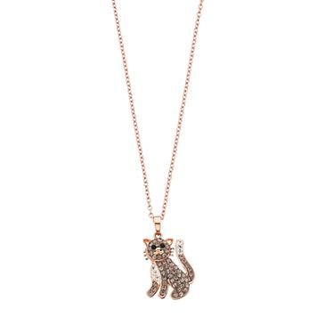 14k Rose Gold Plated Crystal Cat Pendant Necklace