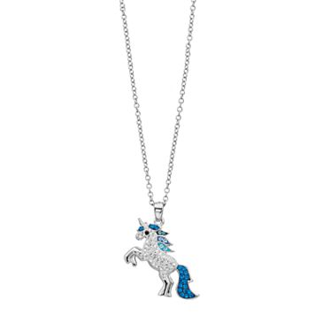 Silver Plated Crystal Unicorn Pendant Necklace