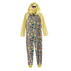Girls 4-14 SO® Smiley Icon Fleece One-Piece Pajamas