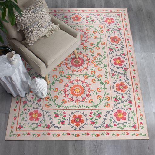 Ruggable® Washable Suzi Framed Floral 2-piece Indoor Outdoor Rug System