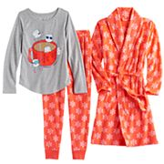 Girls 4-14 SO® Fleece Snowflake Robe, Glitter Graphic Tee & Bottoms Pajama Set