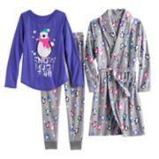 Girls 4-14 SO® Fleece Robe, Animal Foil Graphic Tee & Bottoms Pajama Set