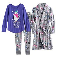 Girls 4-14 SO® Fleece Robe, Animal Foil Graphic Tee & Bottoms Pajama Set