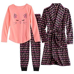 Girls 4-14 SO® Fleece 'Meow' Robe, Cat Graphic Tee & Bottoms Pajama Set