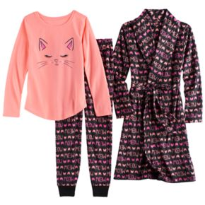 "Girls 4-14 SO® Fleece ""Meow"" Robe, Cat Graphic Tee & Bottoms Pajama Set"