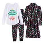 "Girls 4-14 SO® Fleece Robe, ""All I Want For Christmas is WIFI"" Graphic Tee & Bottoms Pajama Set"