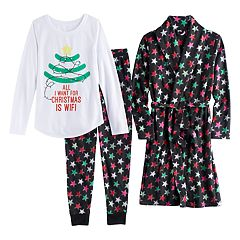 Girls 4-14 SO® Fleece Robe, 'All I Want For Christmas is WIFI' Graphic Tee & Bottoms Pajama Set