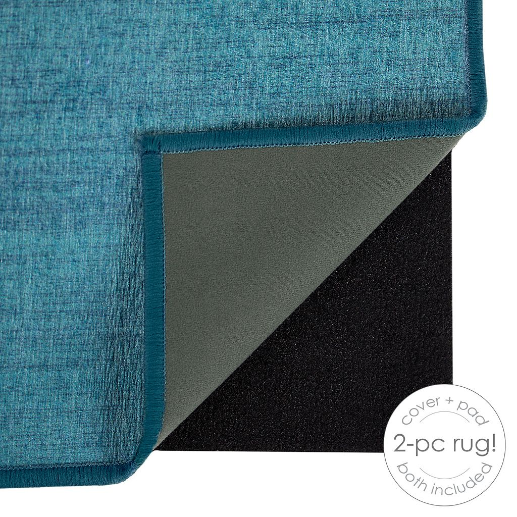Ruggable® Washable Solid Textured 2-piece Indoor Outdoor Rug System