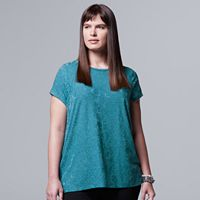 Plus Size Simply Vera Vera Wang Abstract Jacquard Tee