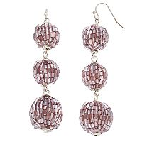Purple Tube Bead Crispin Drop Earrings