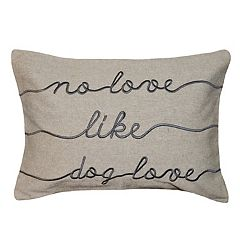 Spencer Home Decor ''Dog Love'' Embroidered Oblong Throw Pillow