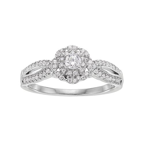 Simply Vera Vera Wang 14k White Gold 3/8 Carat T.W. Diamond Halo Engagement Ring