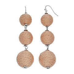Pink Thread Wrapped Triple Drop Earrings