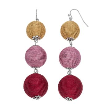 Red Ombre Thread Wrapped Triple Drop Earrings