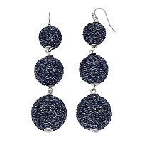 Blue Metallic Thread Wrapped Triple Drop Earrings
