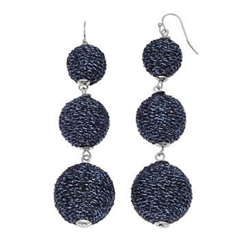 Blue Metallic Thread Wrapped Triple Drop Earrings