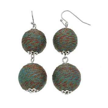 Rainbow Thread-Wrapped Crispin Drop Earrings