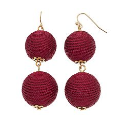 Red Thread Wrapped Crispin Double Drop Earrings