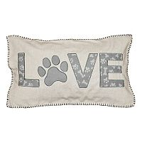 Spencer Home Decor ''Love'' Paw Applique Oblong Throw Pillow