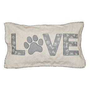 Spencer Home Decor ''Love'' Paw Applique Oblong Throw Pillow
