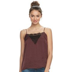 Juniors' Mudd® Satin & Lace Swing Tank