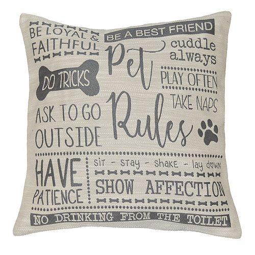 Spencer Home Decor ''Pet Rules'' Jacquard Throw Pillow