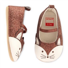 Baby Girl Carter's Glitter Fox Mary Jane Crib Shoes