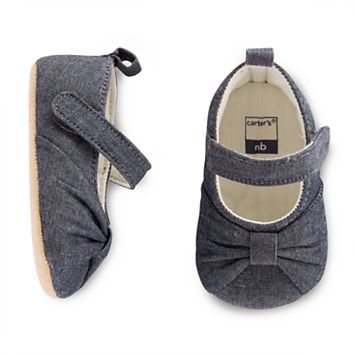 Baby Girl Carter's Chambray Bow Mary Jane Crib Shoes