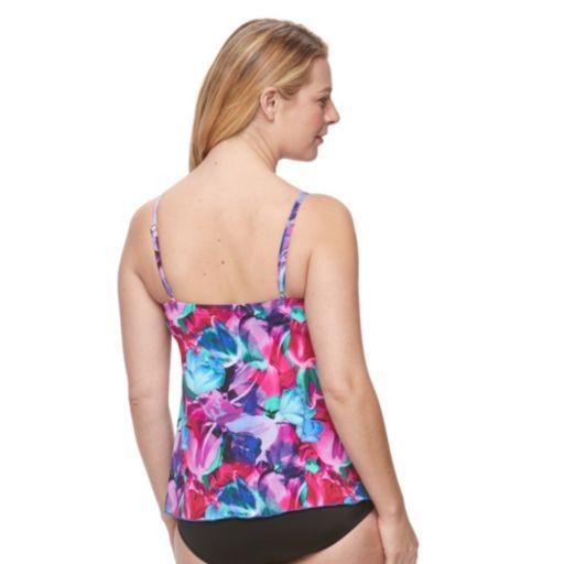 Women's A Shore Fit Tummy Slimmer Mesh Tankini Top