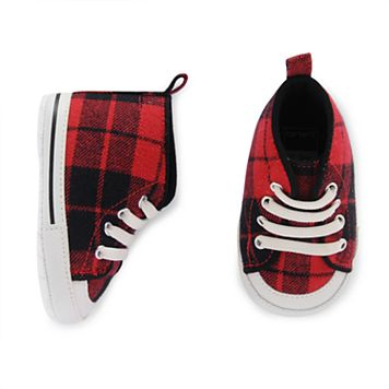 Baby Boy Carter's Red Plaid High-Top Crib Shoes