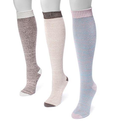 Women's MUK LUKS 3-pk. Microfiber Knee High Socks