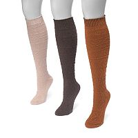 Women's MUK LUKS 3 pkSnowflake Knee-High Socks