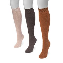 Women's MUK LUKS 3-pk. Snowflake Knee-High Socks