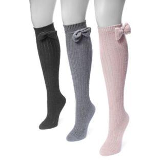 Women's MUK LUKS 3-pk. Bow Pointelle Knee-High Socks