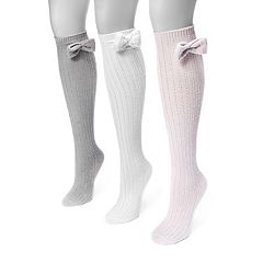 Women's MUK LUKS 3-pk. Bow Pointelle Knee-High Socks