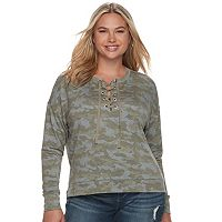 Juniors' Plus Size Mudd® Lace-Up Sweatshirt