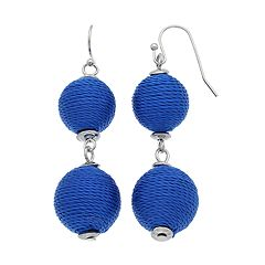 Blue Thread Wrapped Crispin Double Drop Earrings