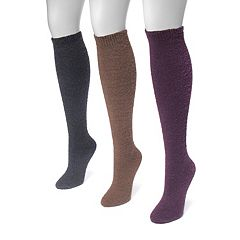 Women's MUK LUKS 3 pkFuzzy Knee High Socks