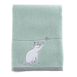 One Home Kitty Cat Embroidered Bath Towel