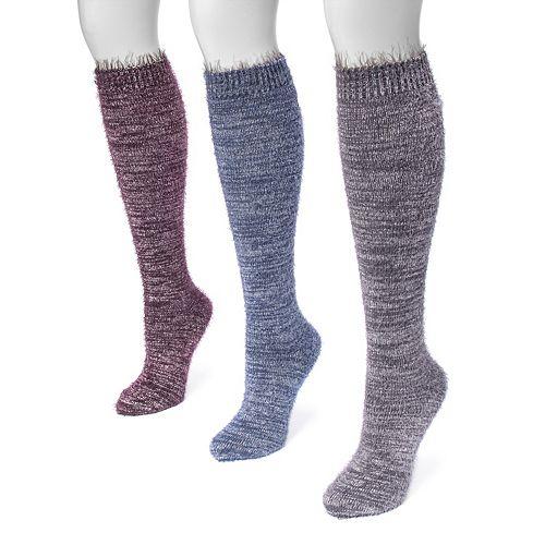 Women's MUK LUKS 3-pk. Raw Cuff Knee-High Socks