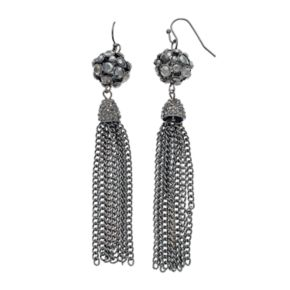 Gray Fireball Tassel Drop Earrings