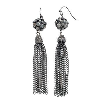 Gray Fireball Tassel Drop Earrings