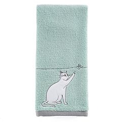 One Home Kitty Cat Embroidered Hand Towel