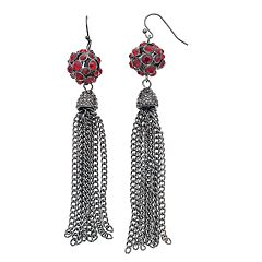 Red Fireball Tassel Drop Earrings