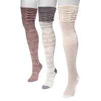 Women's MUK LUKS 3-pk. Microfiber Over-the-Knee Socks