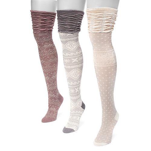 Women's MUK LUKS® 3-pk. Microfiber Over-the-Knee Socks