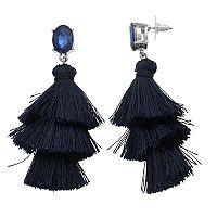 Blue Tiered Tassel Drop Earrings