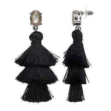 Black Tiered Tassel Drop Earrings