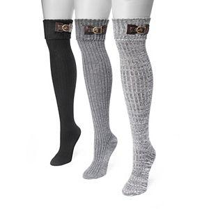 Women's MUK LUKS 3-pk. Buckle Cuff Over-the-Knee Socks